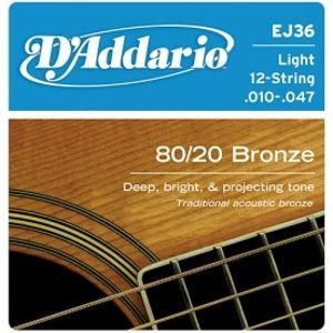 D'ADDARIO EJ36 80/20 Bronze 12 Light - .010 - .047