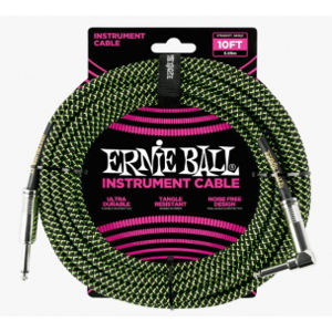 ERNIE BALL P06077 Braided Cable 10 SA Black Green