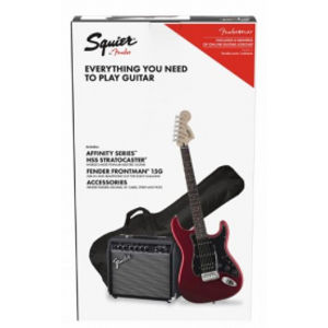 FENDER SQUIER Affinity Strat HSS + Frontman 15G PACK Candy Apple Red