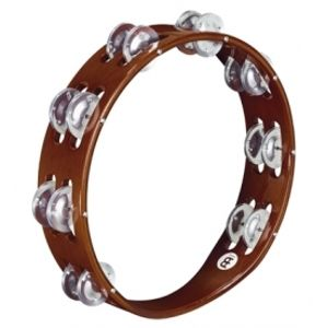 MEINL TA2A-AB Traditional Wood Tambourine 2 Rows Aluminium - African Brown