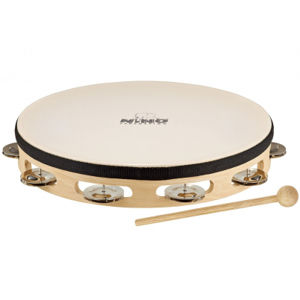 NINO PERCUSSION NINO25 Headed Wood Tambourine 1 Row 10""