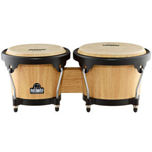 NINO PERCUSSION NINO3NT-BK Wood Bongo - Natural Shell/Black Hardware